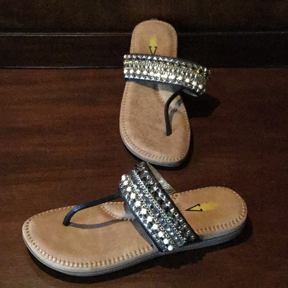 Beaded Black Thong Sandal